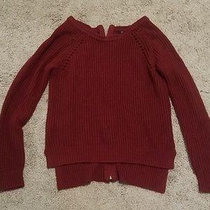 Zipper Back Maroon Sweater